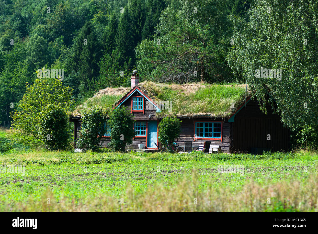 A sod roof log cabin with grass covering the roof. Seen near Åndalsne, Møre og Romsdal county, Norway. - Stock Image