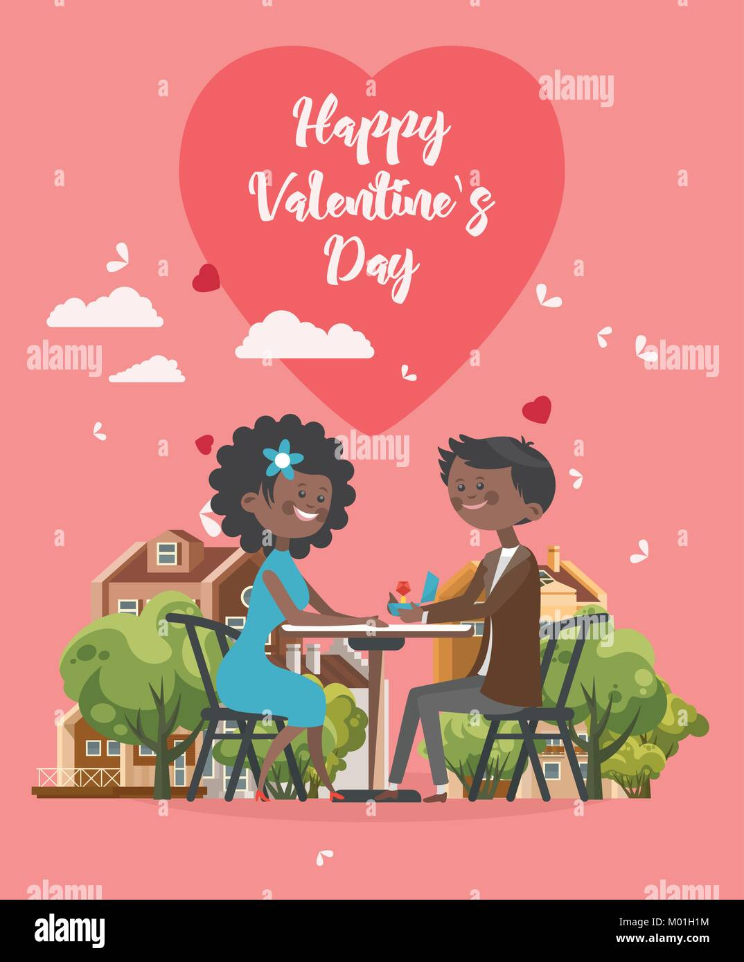 Happy Valentines Day Vector Illustration Greeting Card With Young