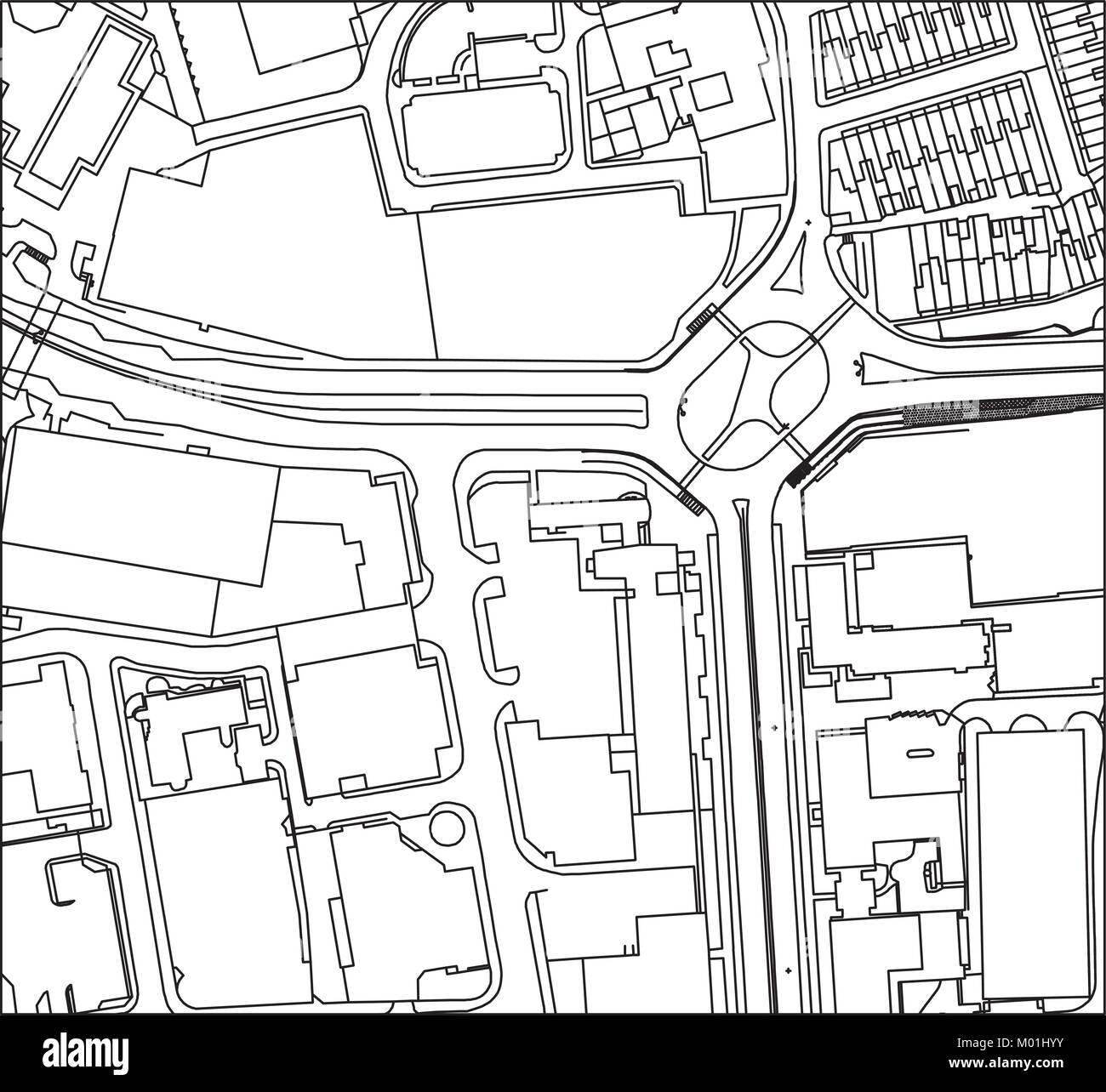 vector line drawing of a busy city or town from above - Stock Vector