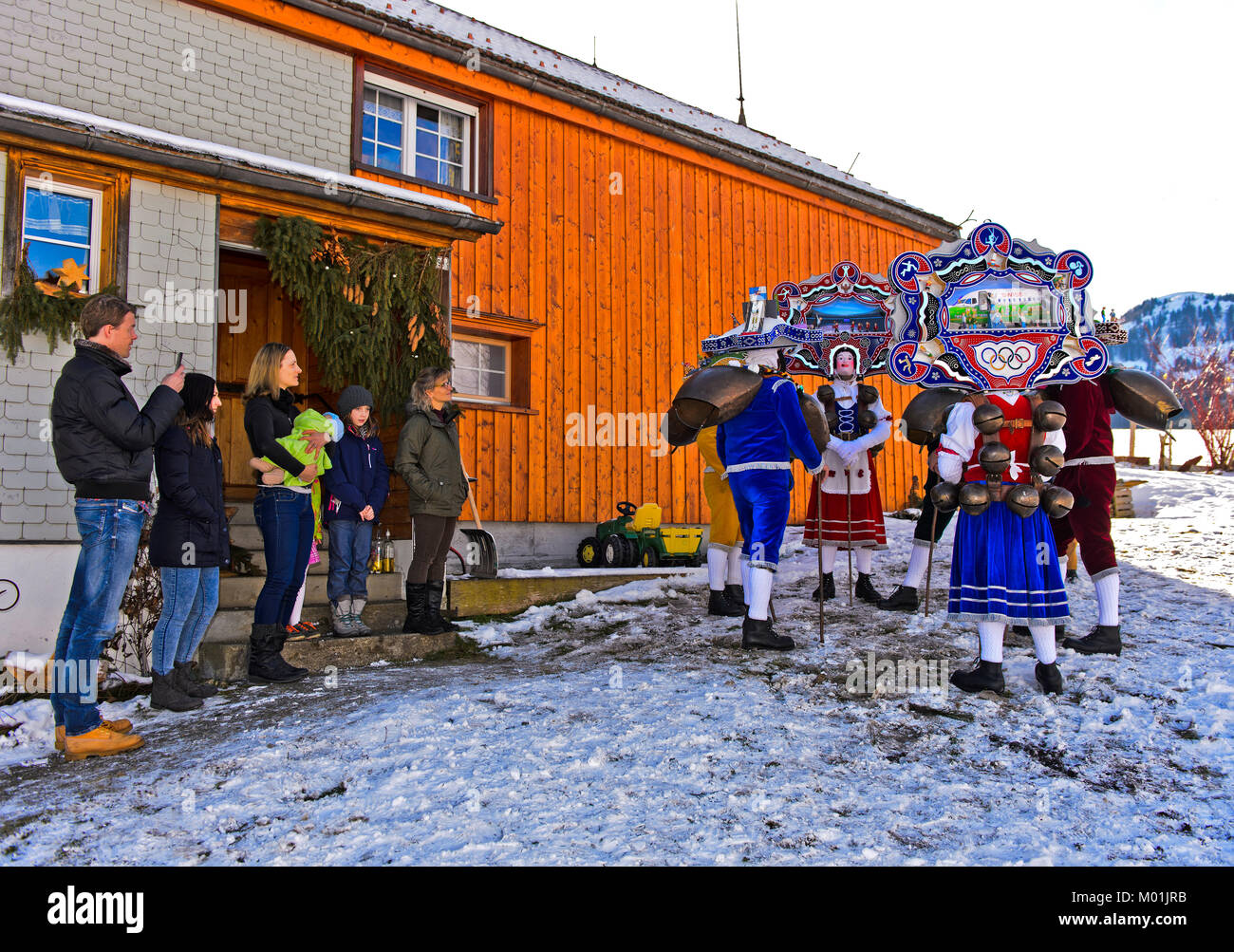 Beautiful Chläuse, St Sylvester mummers, extending New Year's wishes, Urnäsch Old Silvester procession, - Stock Image