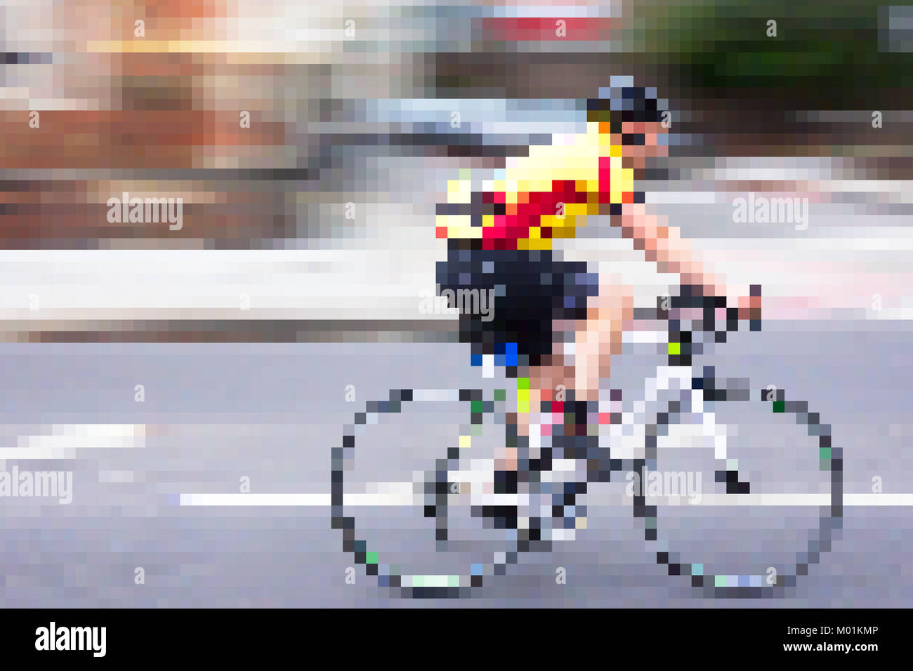 Minecraft style cyclist, artwork reflecting on galloping technology in digital era.London,United Kingdom. - Stock Image