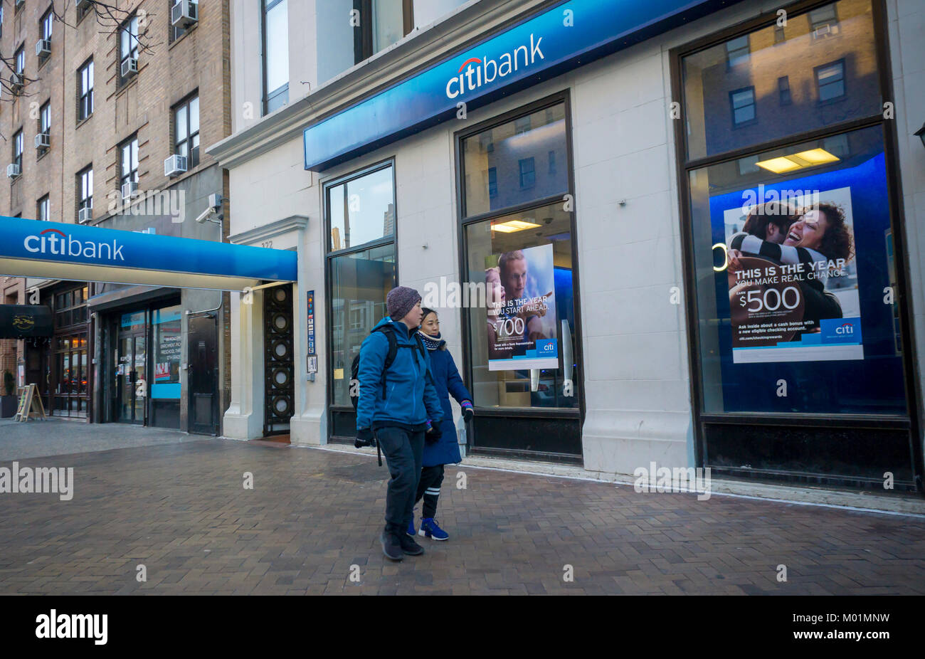 A Citibank branch in Chelsea in New York on Monday, January 15, 2018. Citigroup is scheduled to release its fourth - Stock Image