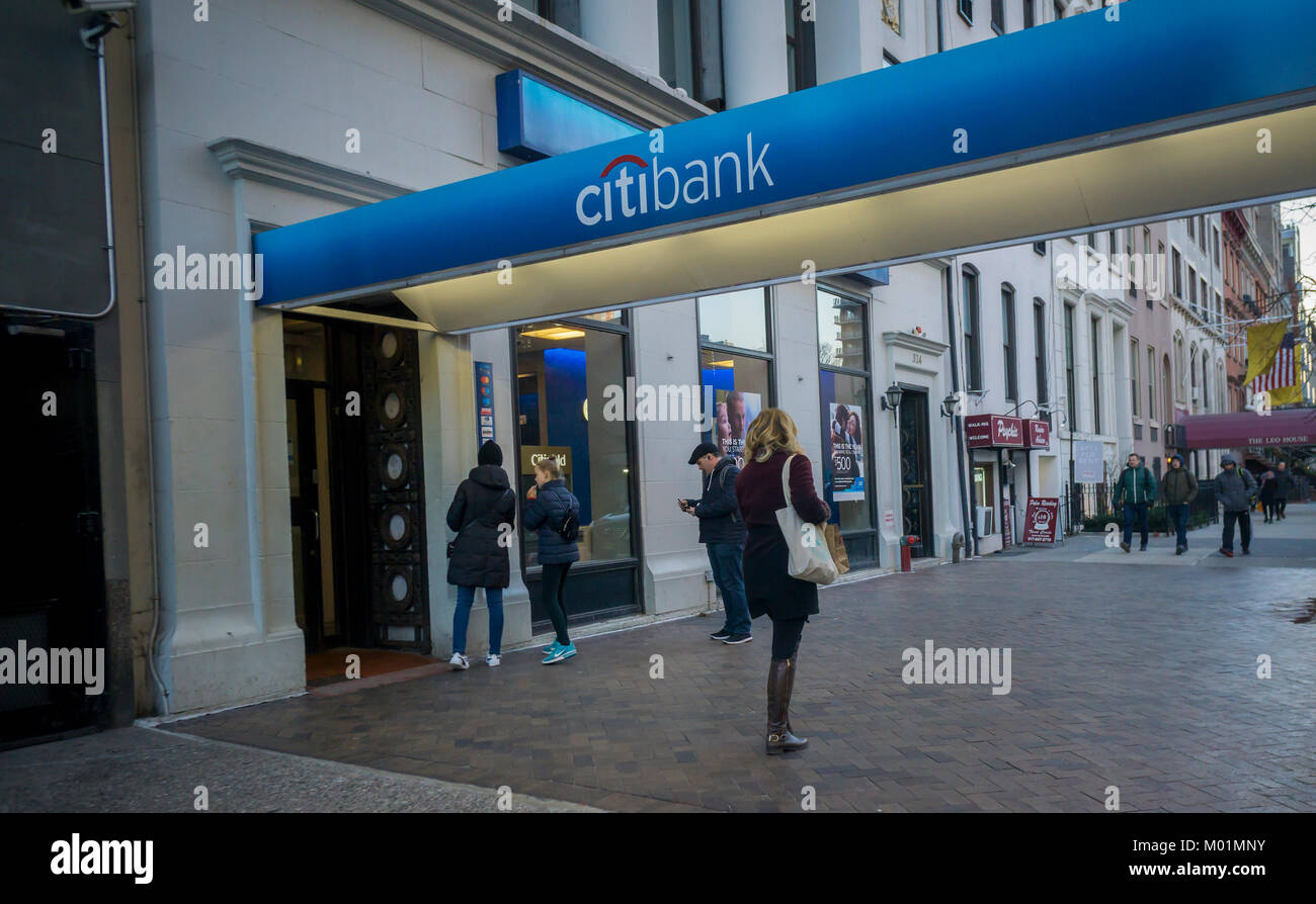 A Citibank branch in Chelsea in New York on Monday, January 15, 2018. Citigroup is scheduled to release its fourth Stock Photo