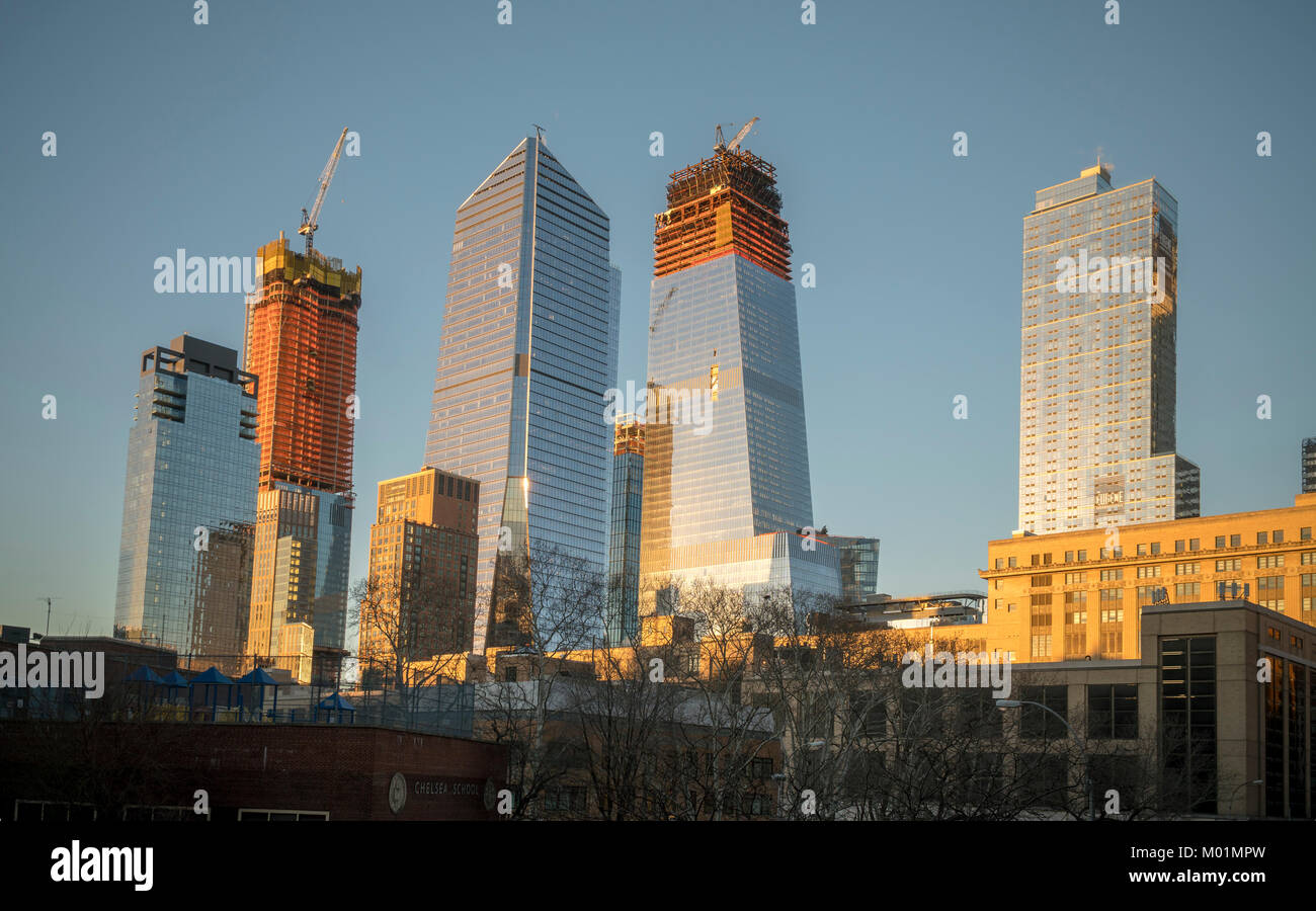 10 Hudson Yards, center left, 30 Hudson Yards, center right, and other Hudson Yards development in New York on Saturday, Stock Photo