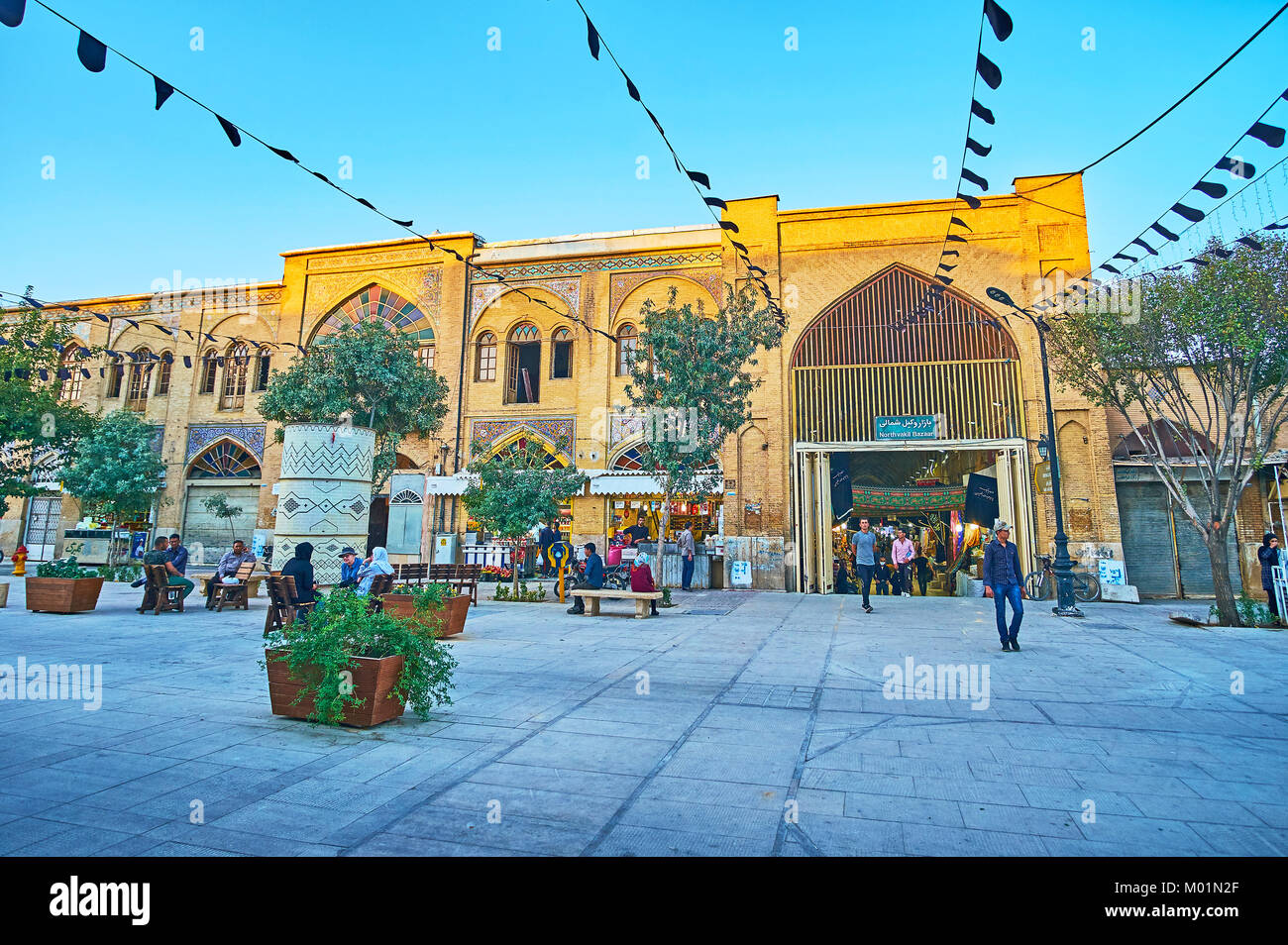 SHIRAZ, IRAN - OCTOBER 12, 2017: The Zand walking street is the central tourist promenade in old town, separating - Stock Image