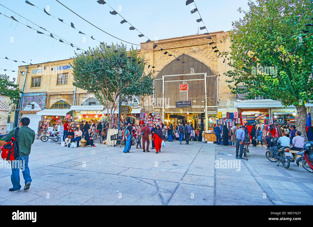 SHIRAZ, IRAN - OCTOBER 12, 2017:  Zand pedestrian street is busy and noisy place, it's located between two parts - Stock Image