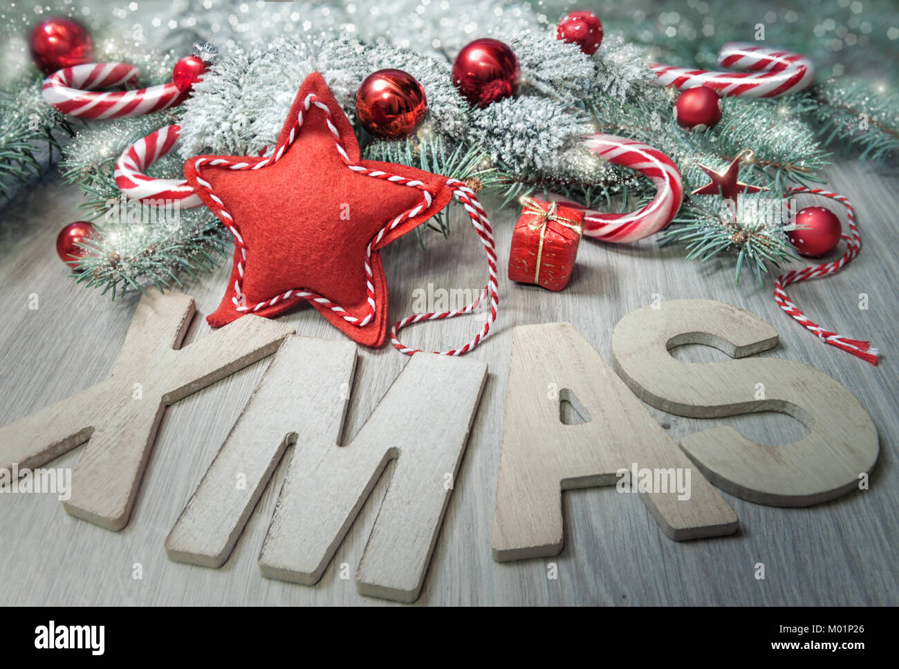 Wooden Letters Xmas And Winter Decorations In Red Beige And Green