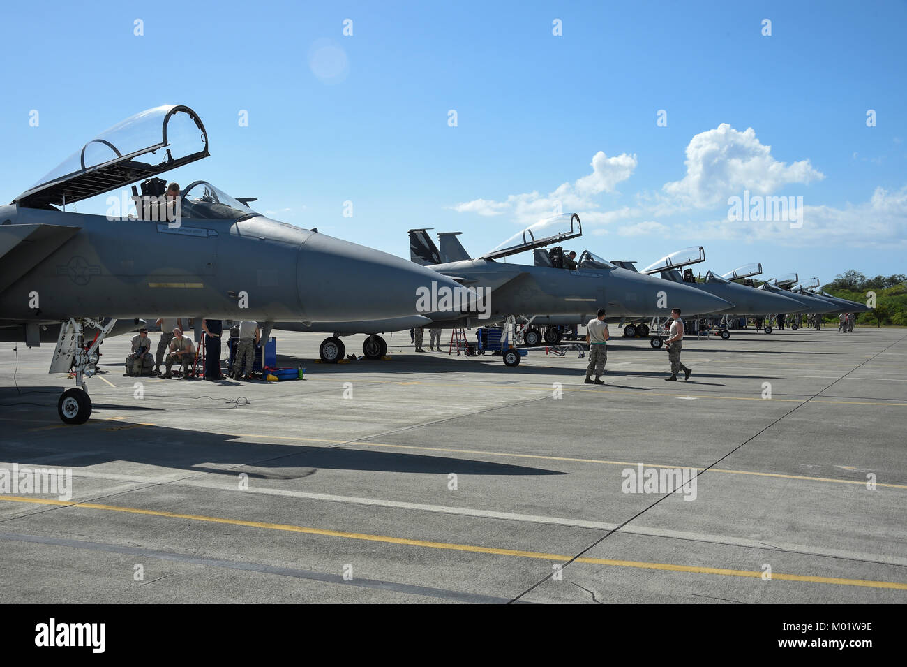 U.S. Air Force F-15C Eagle fighter jets from California Air National Guard's 144th Fighter Wing. - Stock Image