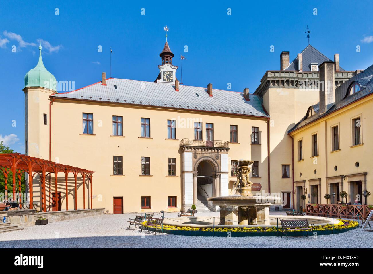 CZECH REPUBLIC, ZBIROH - MAR 14, 2016: neo-renaissance castle Zbiroh, Czech republic. Artist Alfons Mucha painted - Stock Image