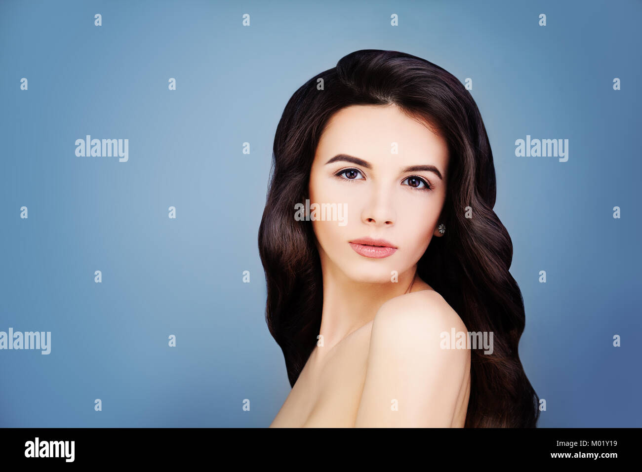 80d8a35014b Healthy Brunette Girl with Long Brown Hair and Clear Skin. Portrait of Spa  Woman