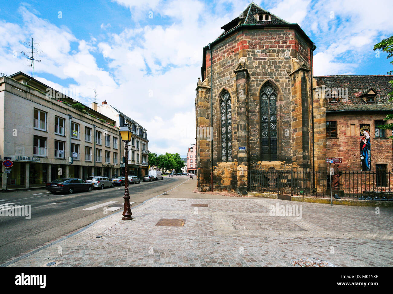 COLMAR, FRANCE - JULY 11, 2010: view of building of Unterlinden Museum from street Rue Kleber. The museum is housed - Stock Image