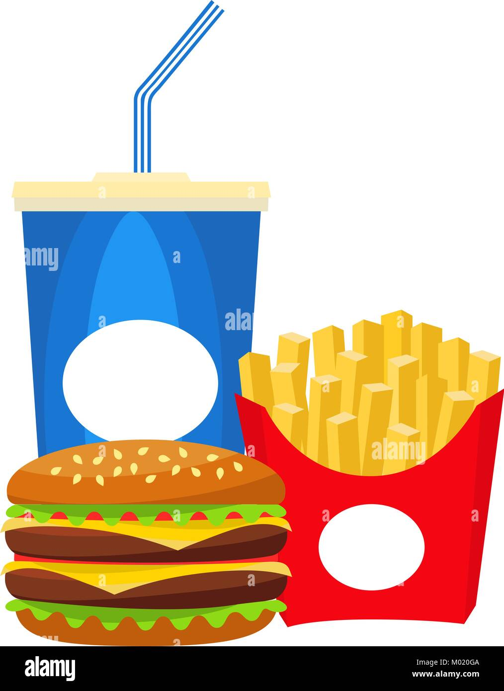 Colorful poster fast food soda burger fries. - Stock Vector