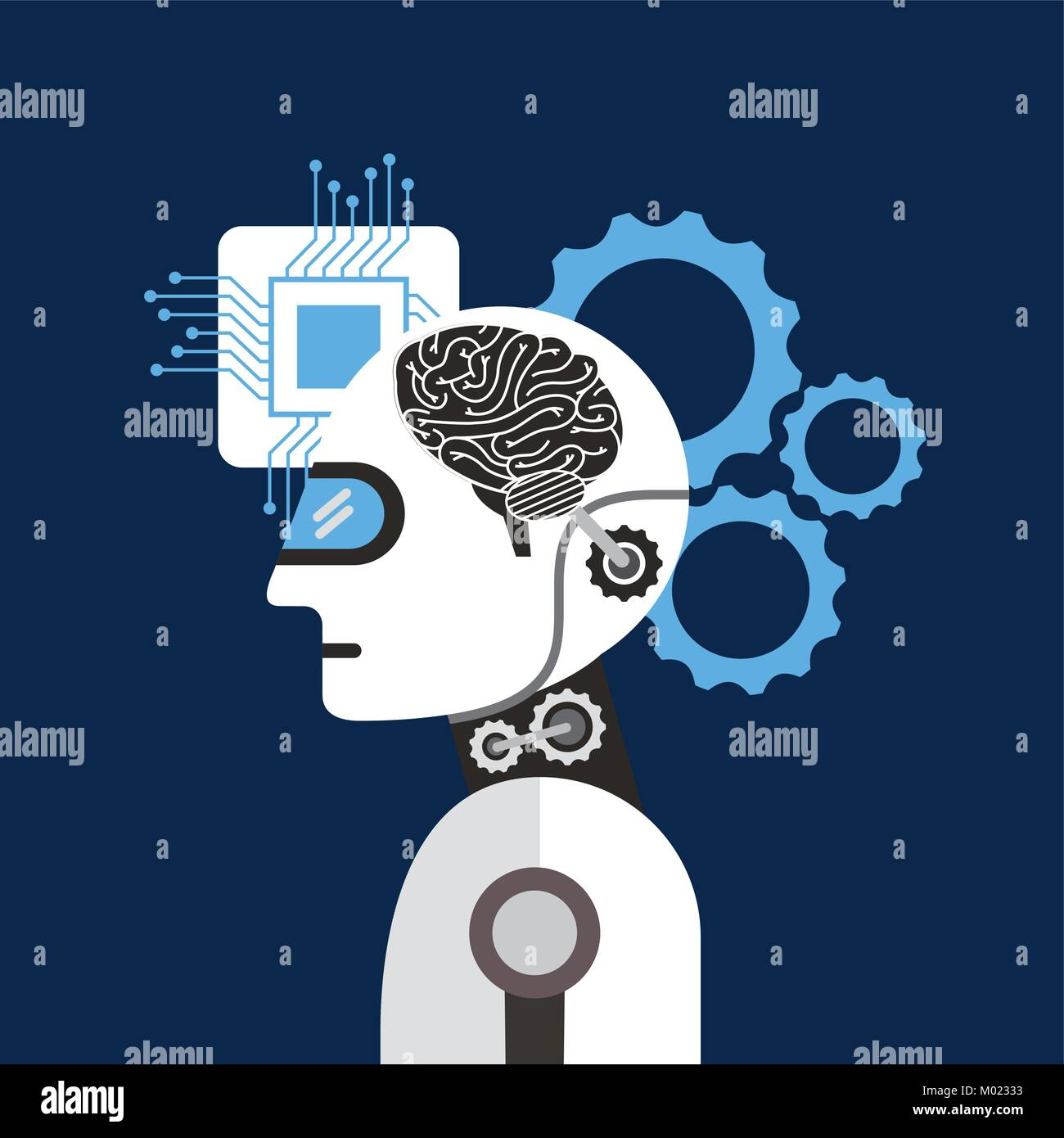 artificial intelligence brain process gear Stock Vector