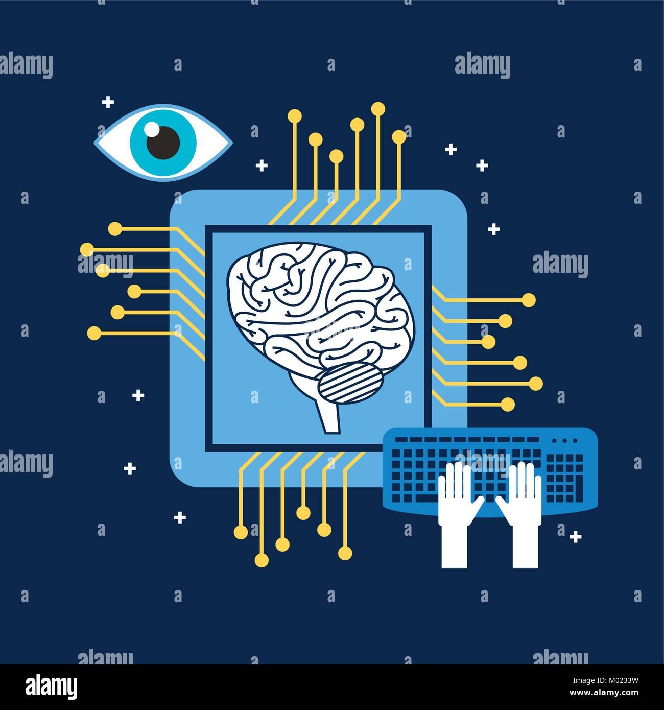 brain cpu circuit board keyboard optical - Stock Image