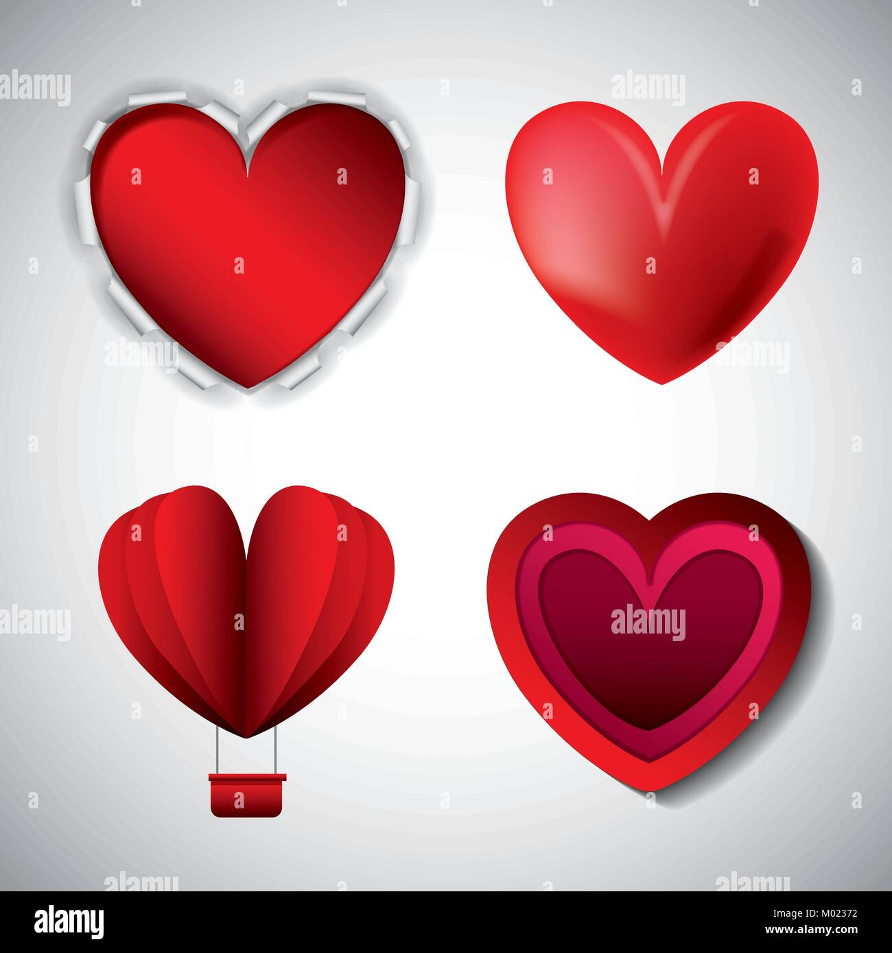love hearts styles different for valentines day Stock Vector Art