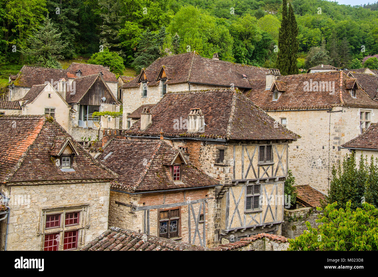 We see the villa of Saint Cirq Lapopie designated as one of the most beautiful medieval French villas located in - Stock Image