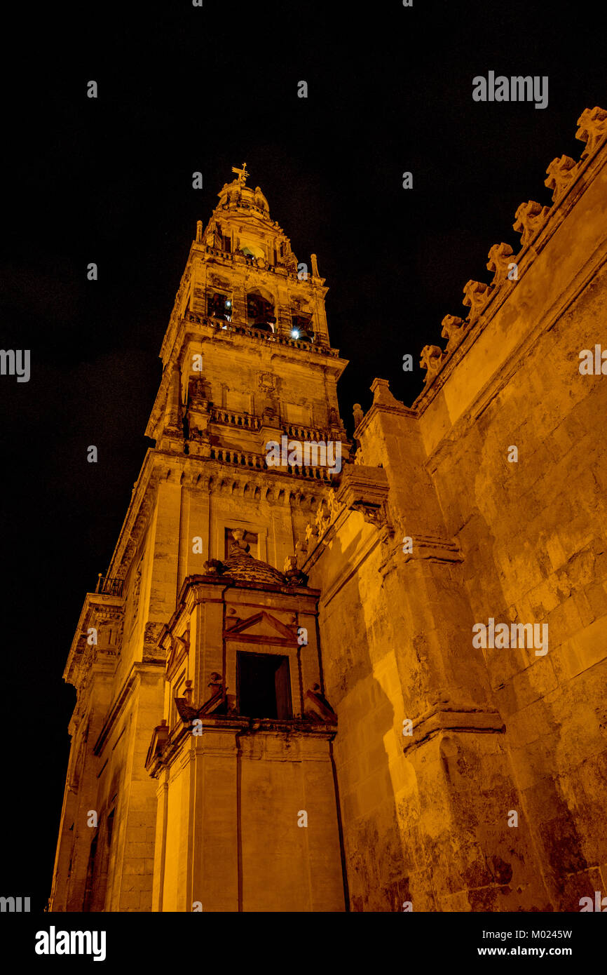 CORDOBA, ANDALUSIA / SPAIN - OCTOBER 14 2017: NIGHT VIEW ON CATHEDRAL Stock Photo