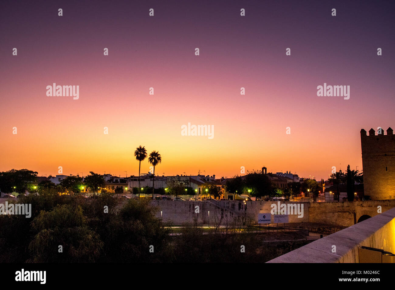CORDOBA, ANDALUSIA / SPAIN - OCTOBER 14 2017: SUNRISE VIEW FROM ROMAN BRIDGE Stock Photo
