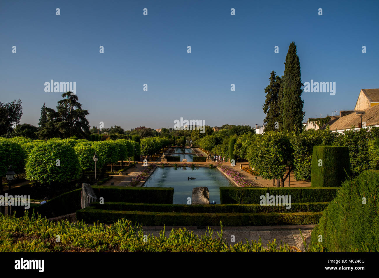CORDOBA, ANDALUSIA / SPAIN - OCTOBER 14 2017: GREEN PARK WITH WATER AND BLUE SKY Stock Photo