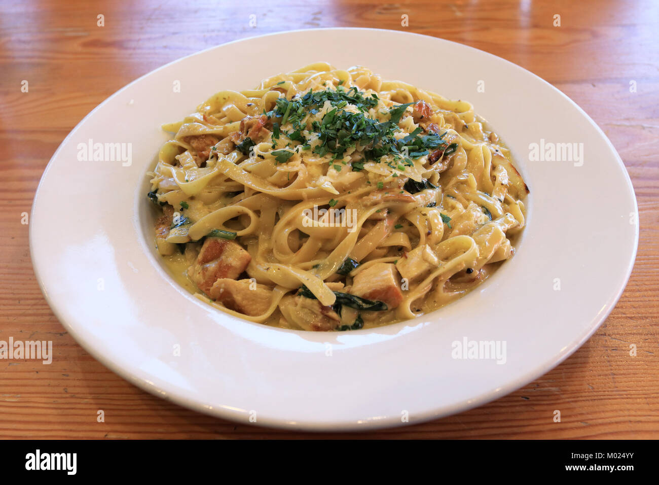 Chicken and Mushroom Fettuccine with creamy sauce on wooden table - Stock Image