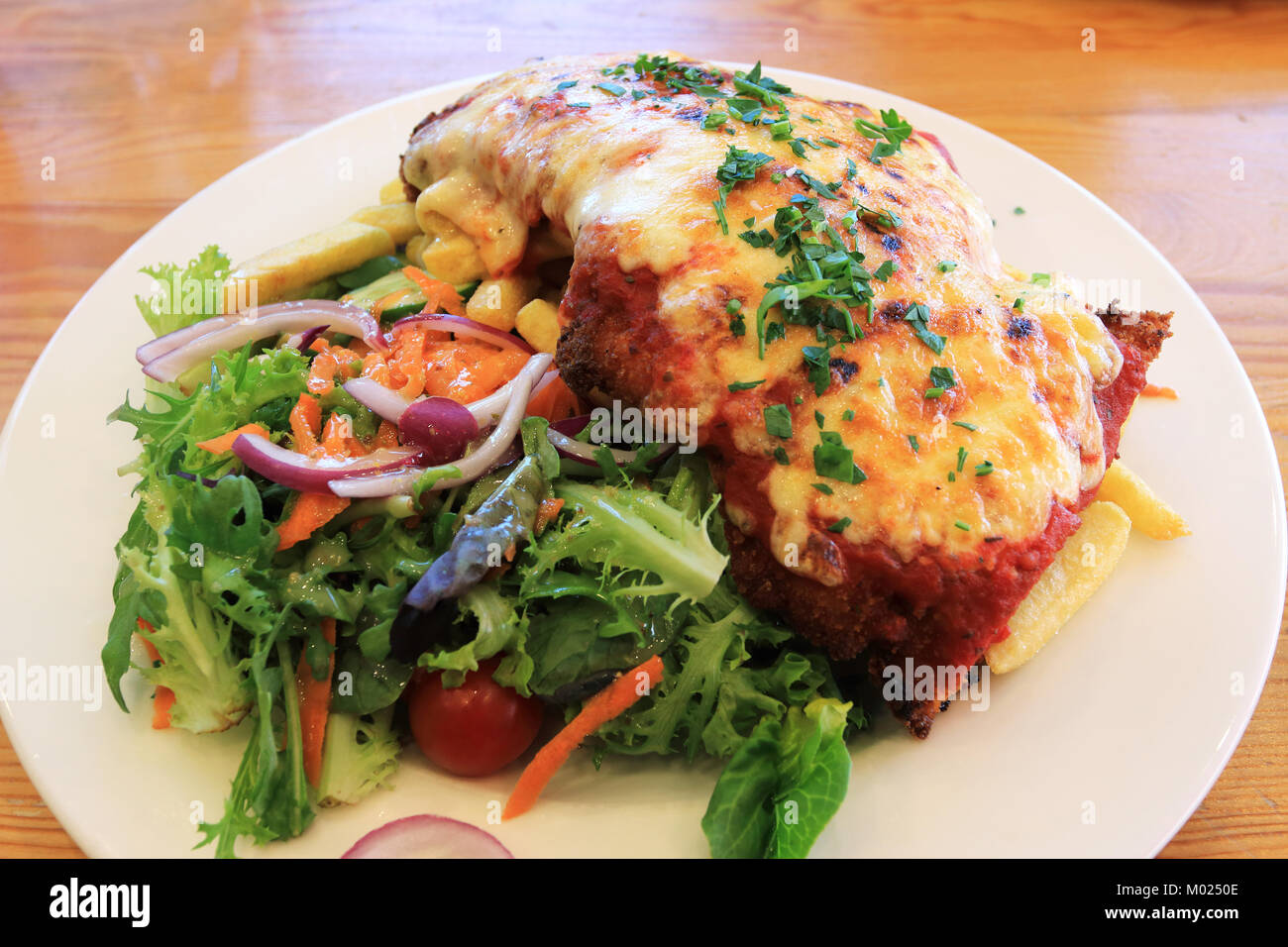 Chicken Schnitzel with chips and fresh garden salad on timber background - Stock Image