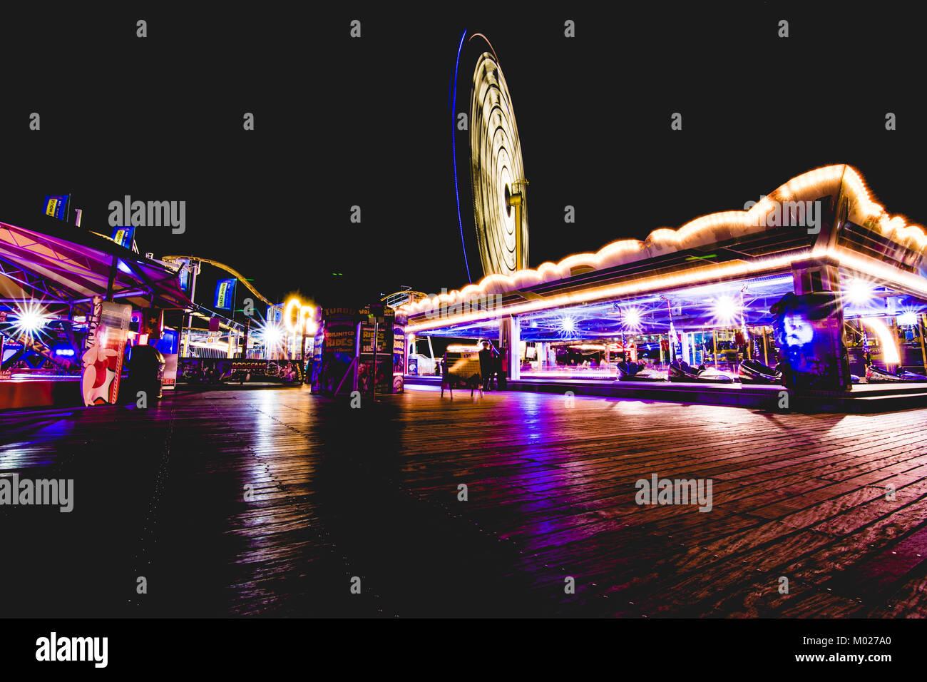 Night time on the Palace Pier, Brighton UK - Stock Image
