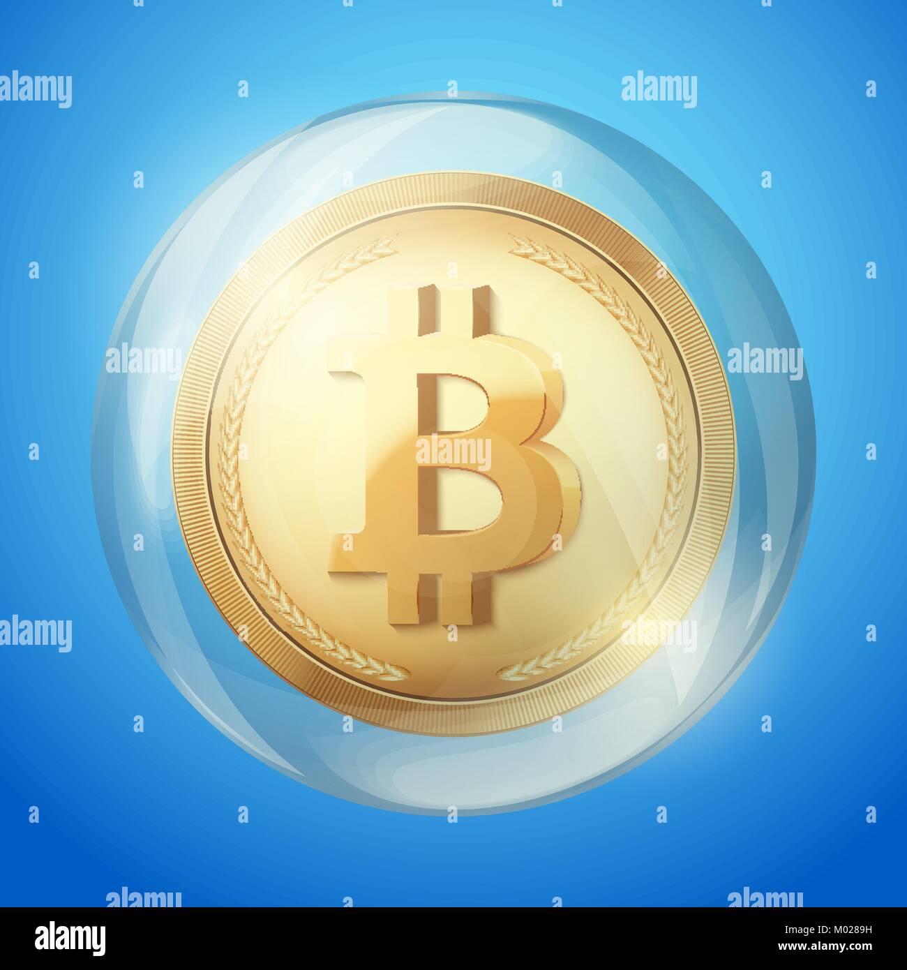 Bitcoin sign in bubble Stock Vector