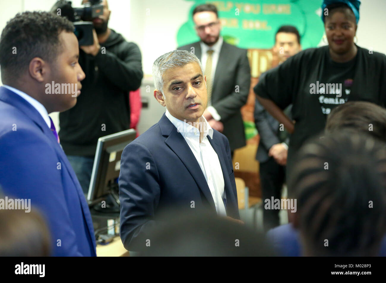 Ahead of the centenary of the first women in the UK securing the right to vote, the Mayor of London, Sadiq Khan, - Stock Image