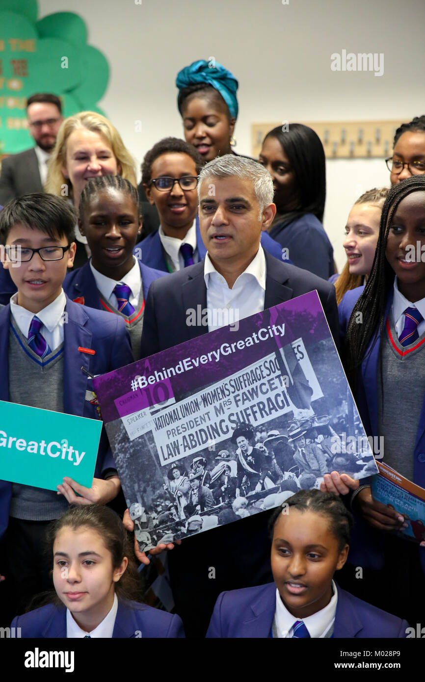 Ahead of the centenary of the first women in the UK securing the right to vote, the Mayor of London, Sadiq Khan, Stock Photo