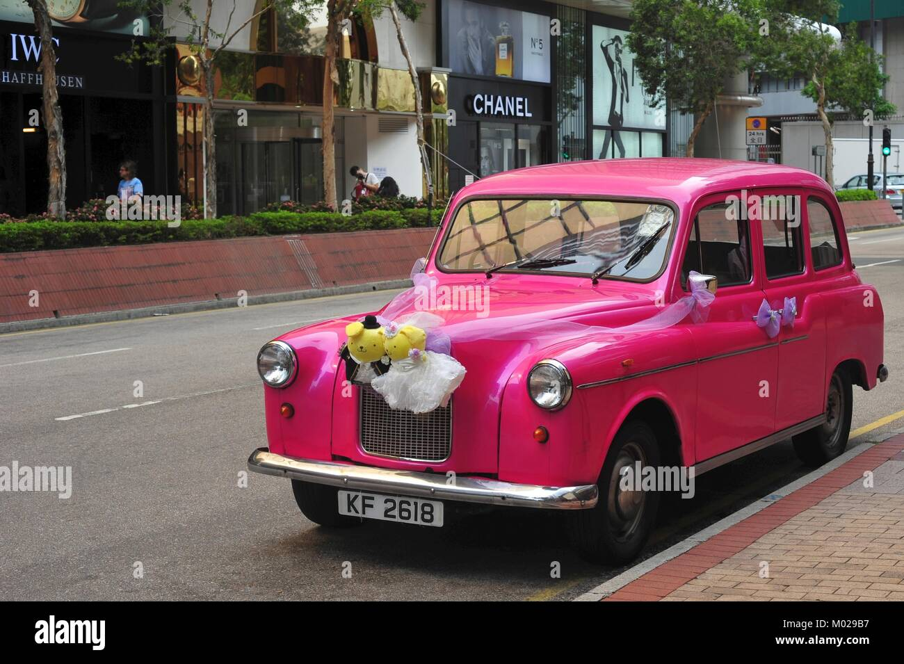 Decorated classic wedding car in Hongkong prepared for the most beautiful day of your life Stock Photo