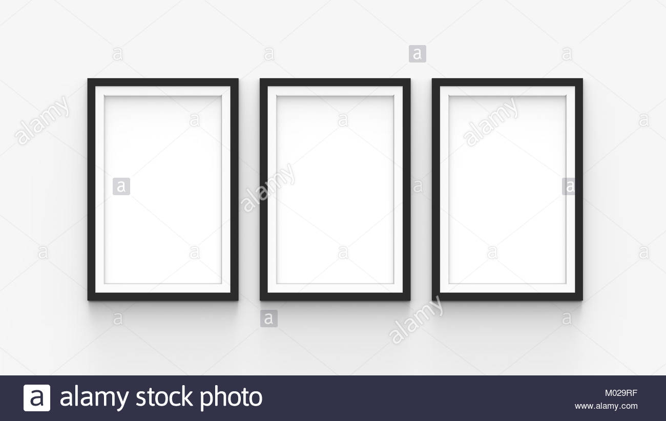 three connected blank picture frames template set isolated on wall ...