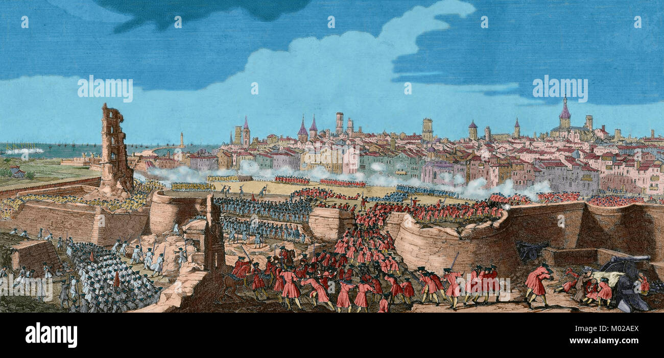 War of Spanish Succession (1702-1715). Entry of the troops of Philip V in Barcelona in 1714, opening gaps in the wall of the city with guns and mines, to render the place. Drawing by P. Rigaud and engraving by M. Engelbrecht, 1722. Colored. Stock Photo