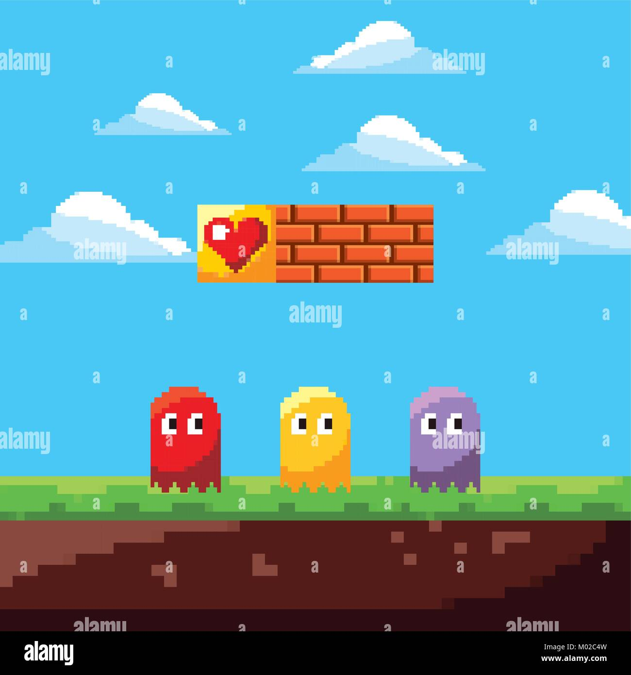 pixel game ghosts life prize and landscape brick wall - Stock Vector