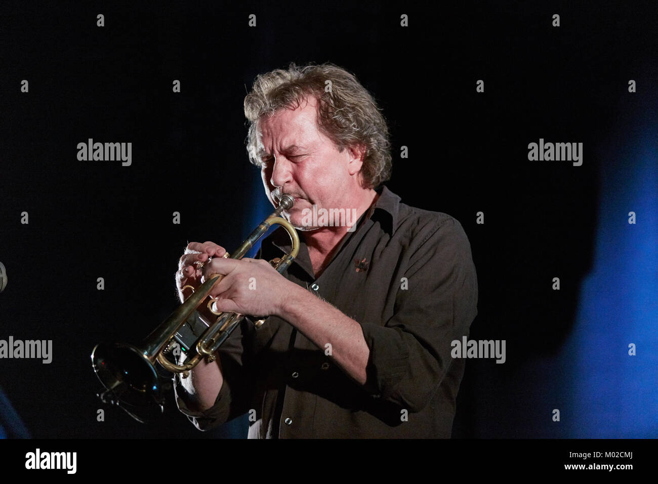 The Norwegian jazz musician and trumpeter Nils Petter Molvær (also knowns as NPM) performs a live concert at - Stock Image