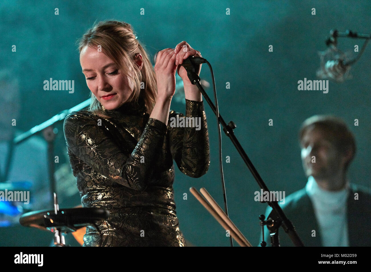 The Norwegian pop duo Philco Fiction performs a live concert at Parkteatret in Oslo. The group consists of Turid - Stock Image