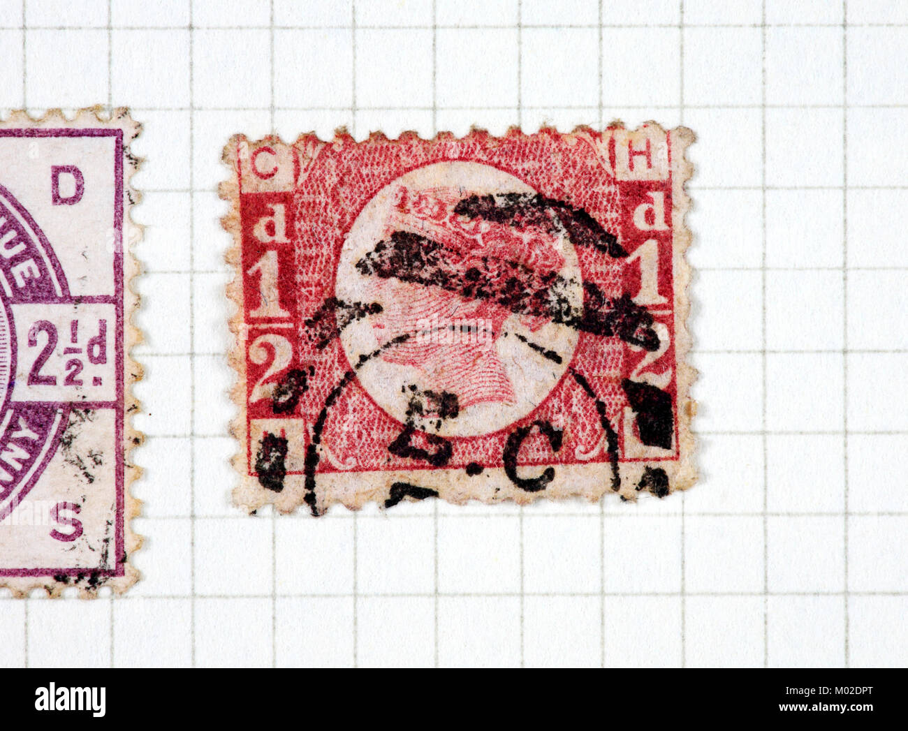 A used Queen Victoria reign 1/2d stamp of 1858-70 issue. - Stock Image