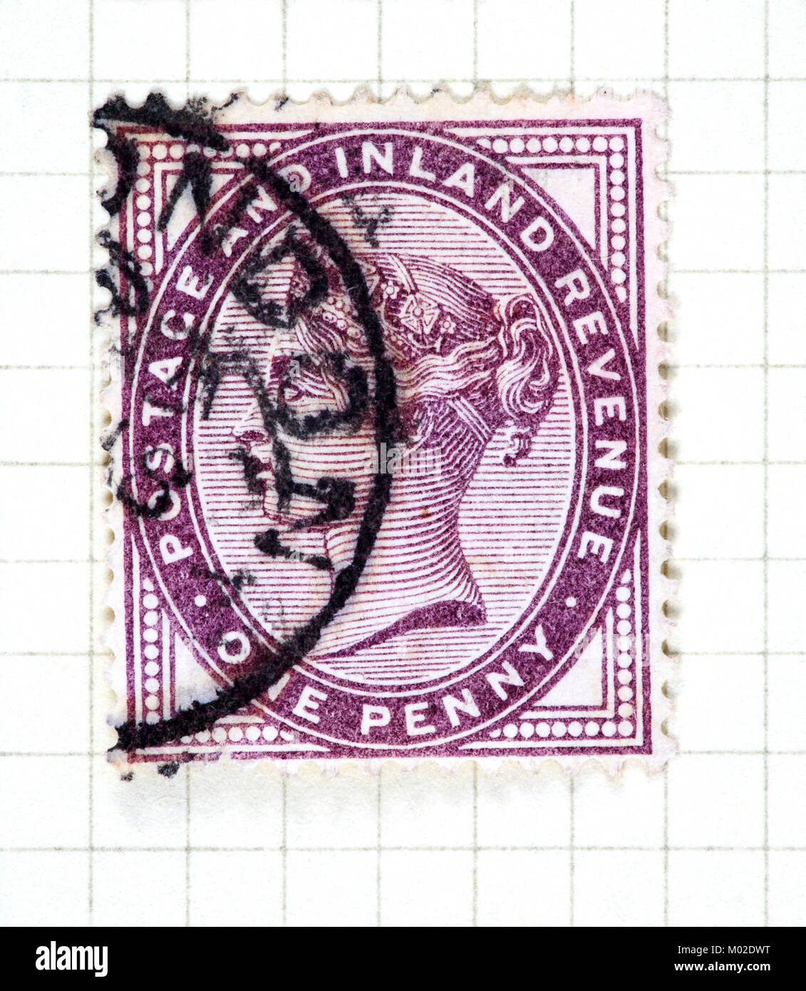 A Queen Victoria one penny lilac used stamp of 1881 issue. - Stock Image