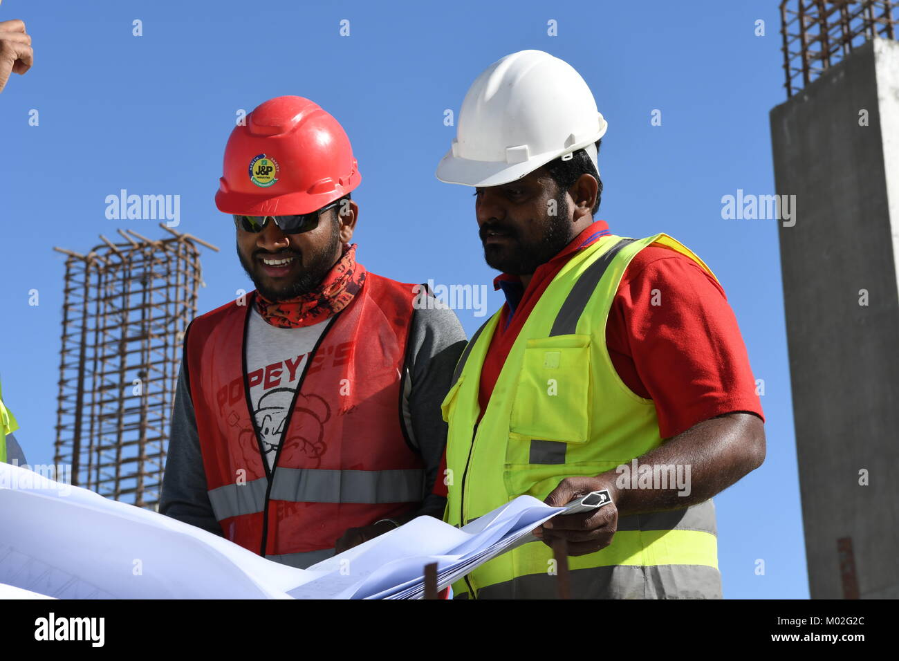 8ae35f5ae57 Indian Civil Engineers and foremen are working on the construction site -  Stock Image