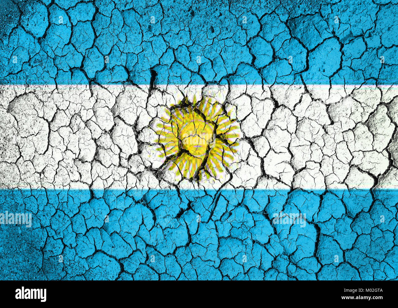 Argentine flag ongrunge wall  textured background - Stock Image