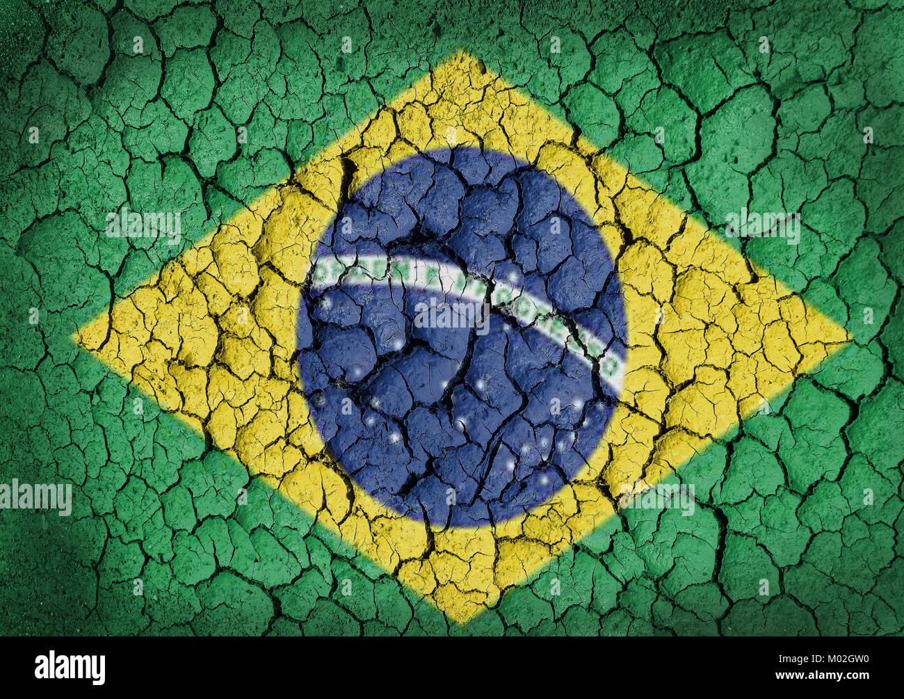 Grunge of Brazil Flag - Stock Image
