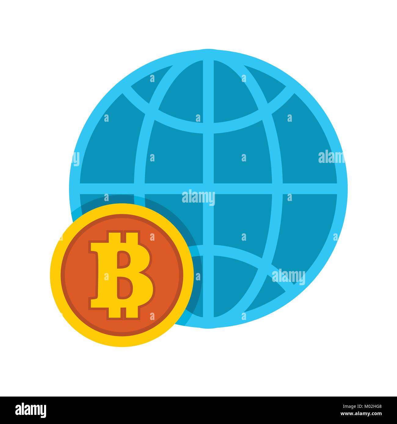 Bitcoin Worldwide Global Trend Vector Illustration Graphic - Stock Vector
