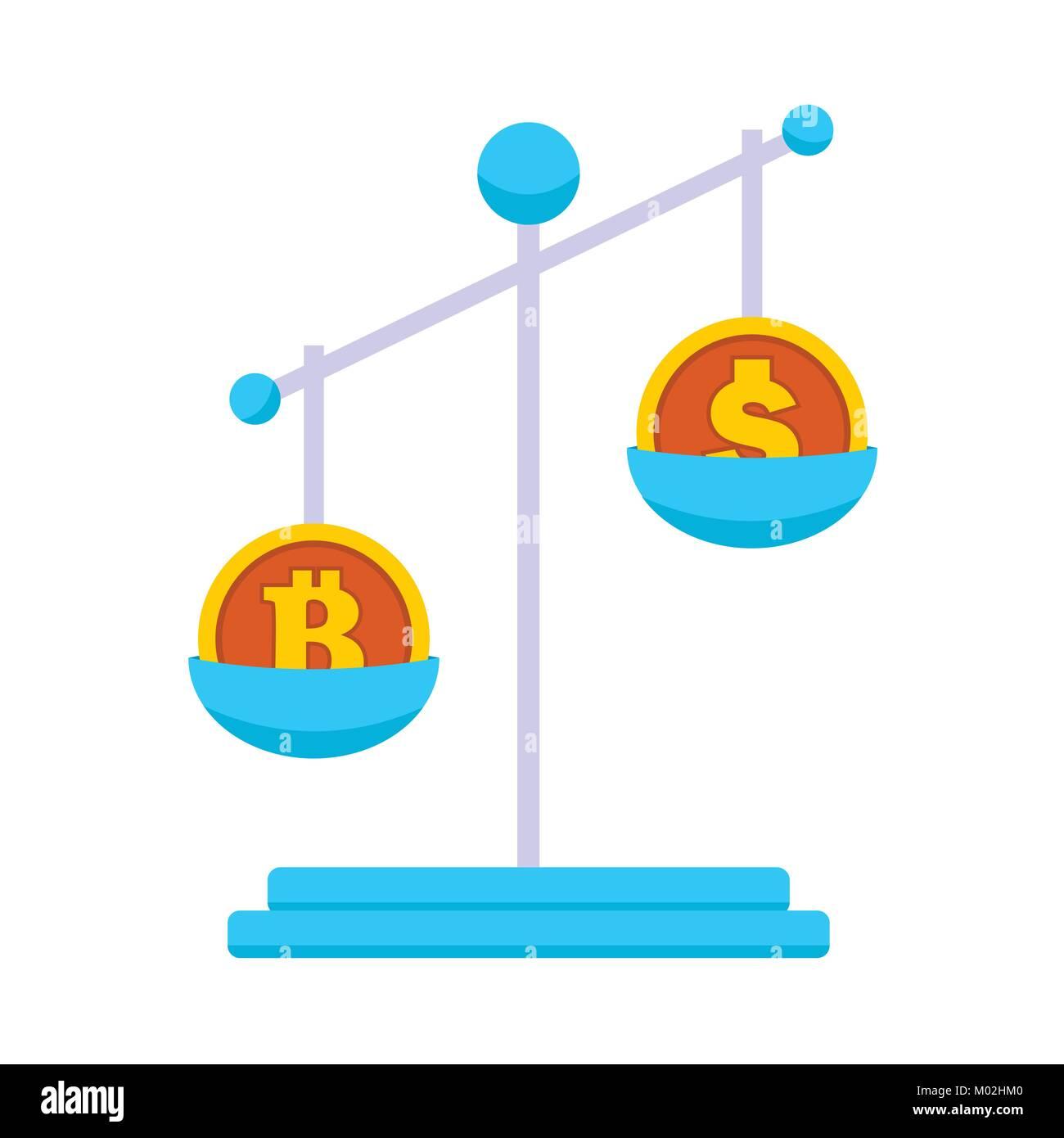 Bitcoin Markey Scale Value Vector Illustration Graphic - Stock Image