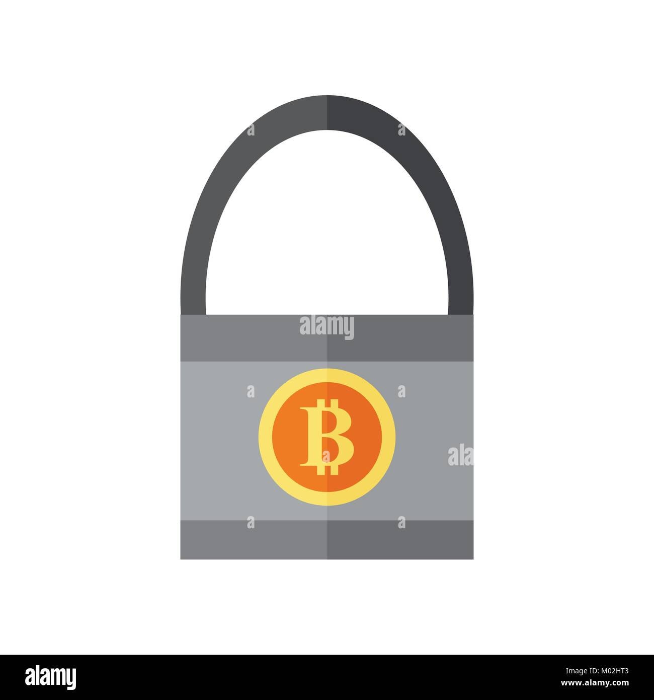 Secure Bitcoin Lock Vector Illustration Graphic - Stock Vector