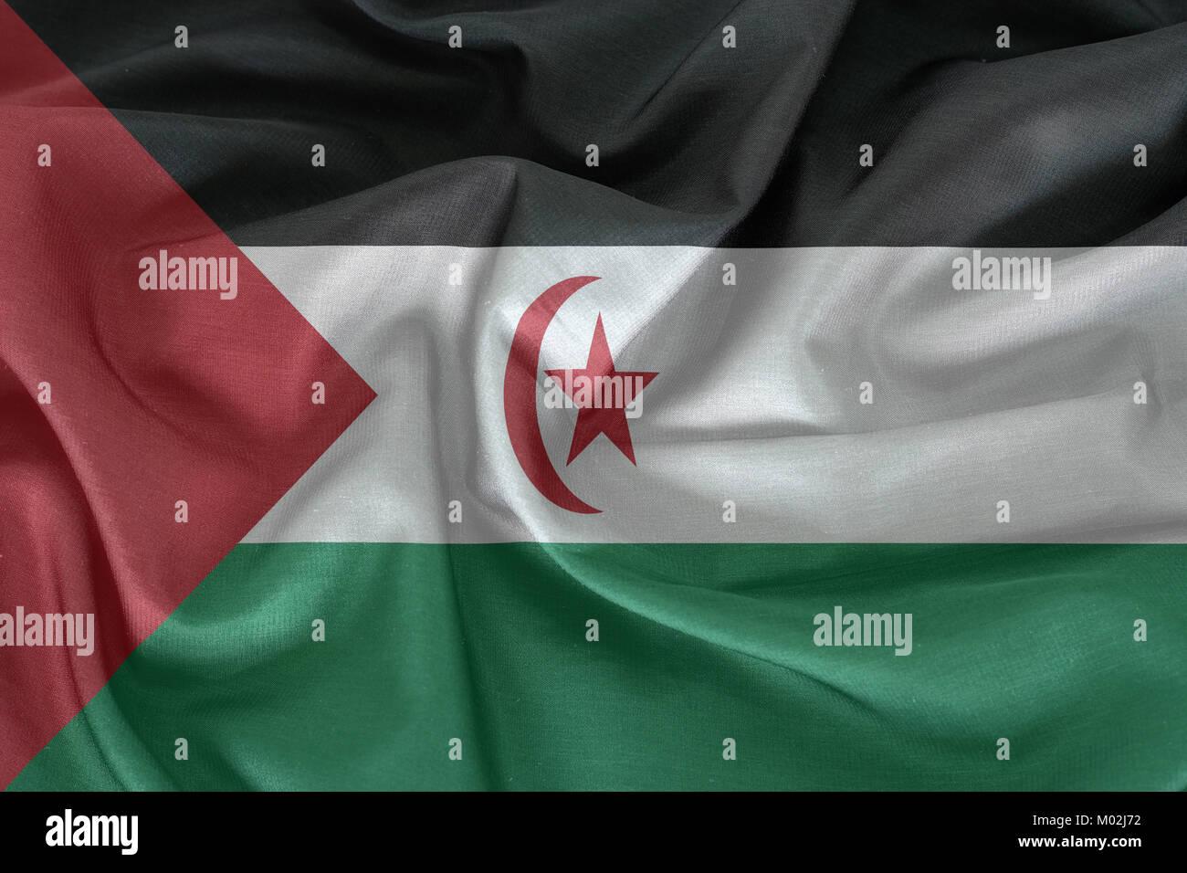 Sahrawi Arab Democratic Republic flag pattern on the fabric texture - Stock Image