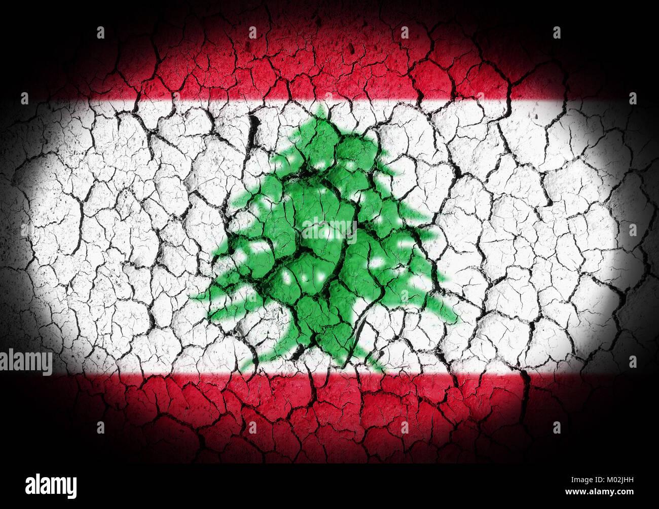 The Lebanese flag painted on grunge - Stock Image