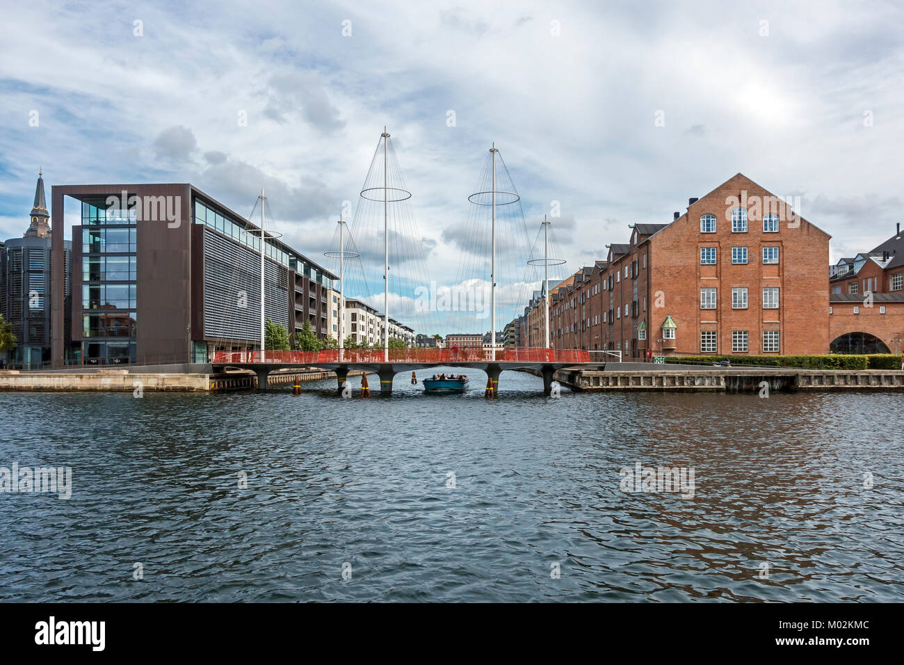 Cirkel-broen (Circle Bridge) at the mouth of Christianshavns Kanal in the harbour of Copenhagen Denmark UK with - Stock Image