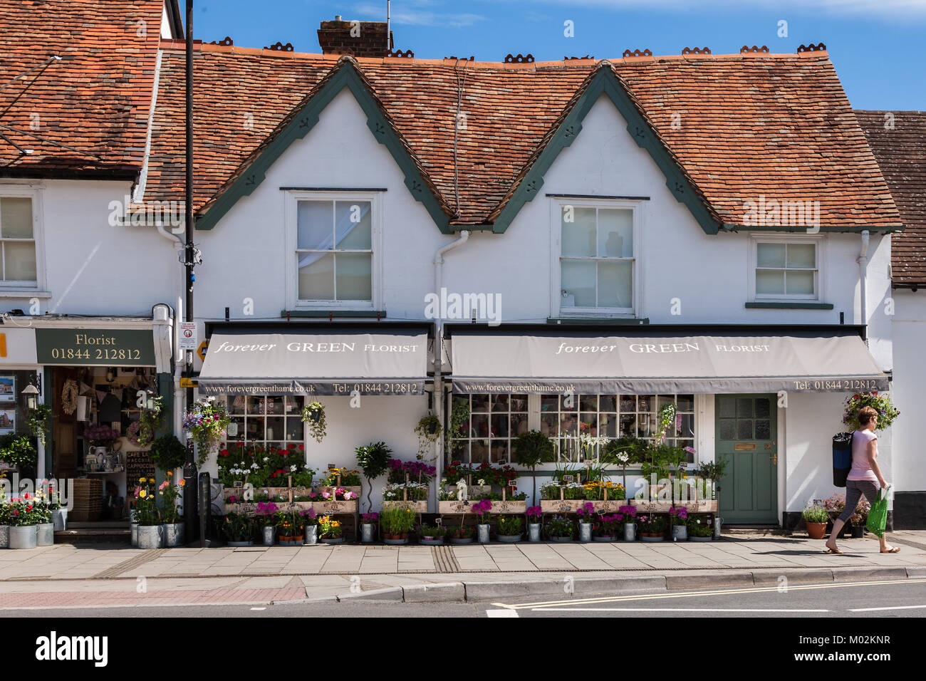 flower shop High Street Thame Oxfordshire Uk - Stock Image