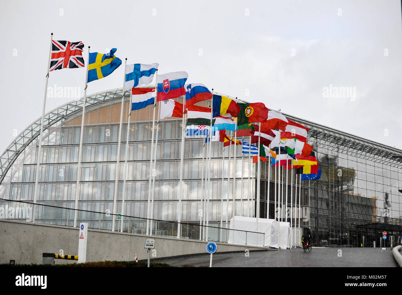 Flags of the european countries in front of the European Investment Bank, Luxembourg - Stock Image