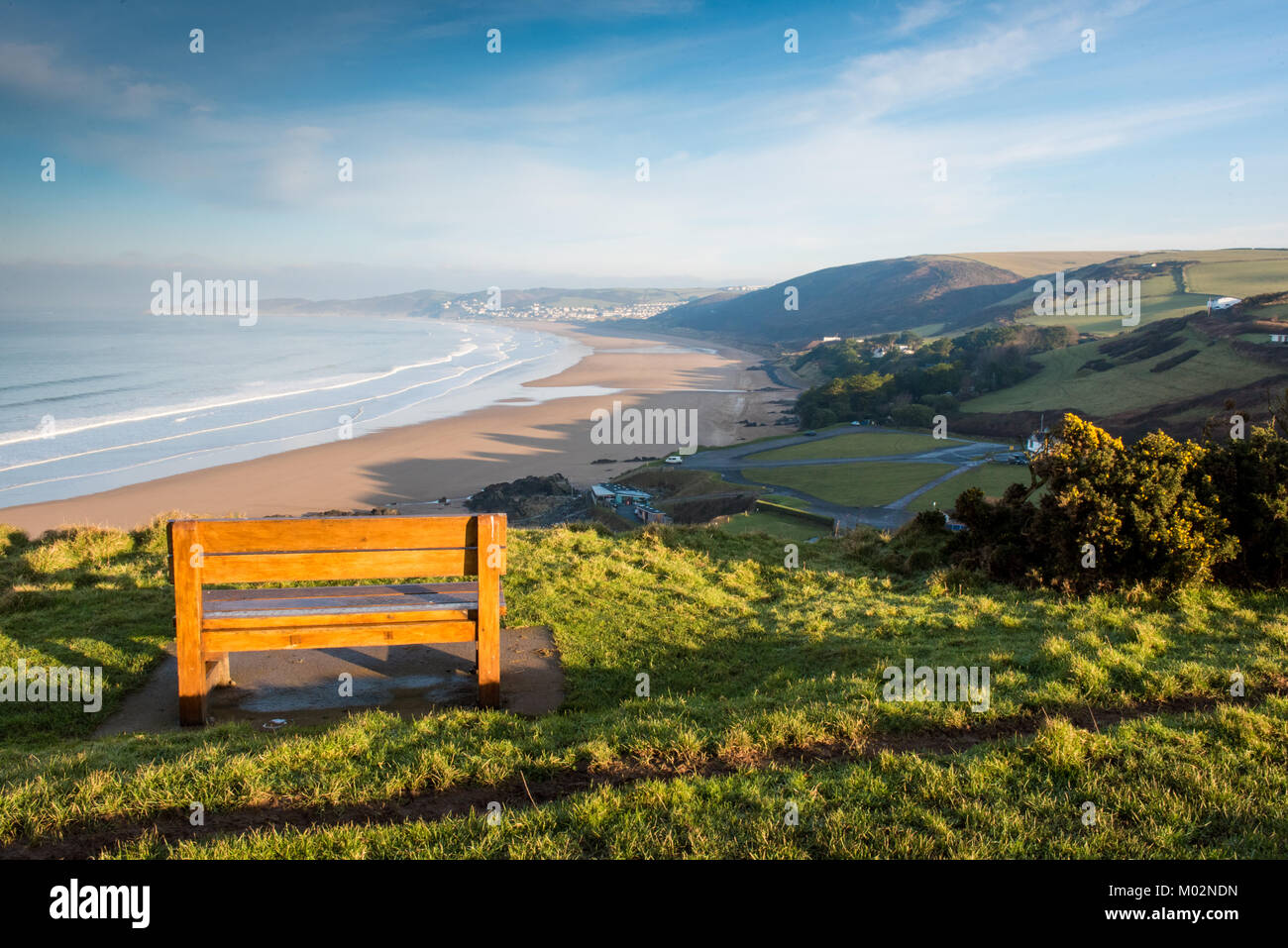 View from a bench at Putsburgh looking towards Woolacombe and Morthoe - Stock Image