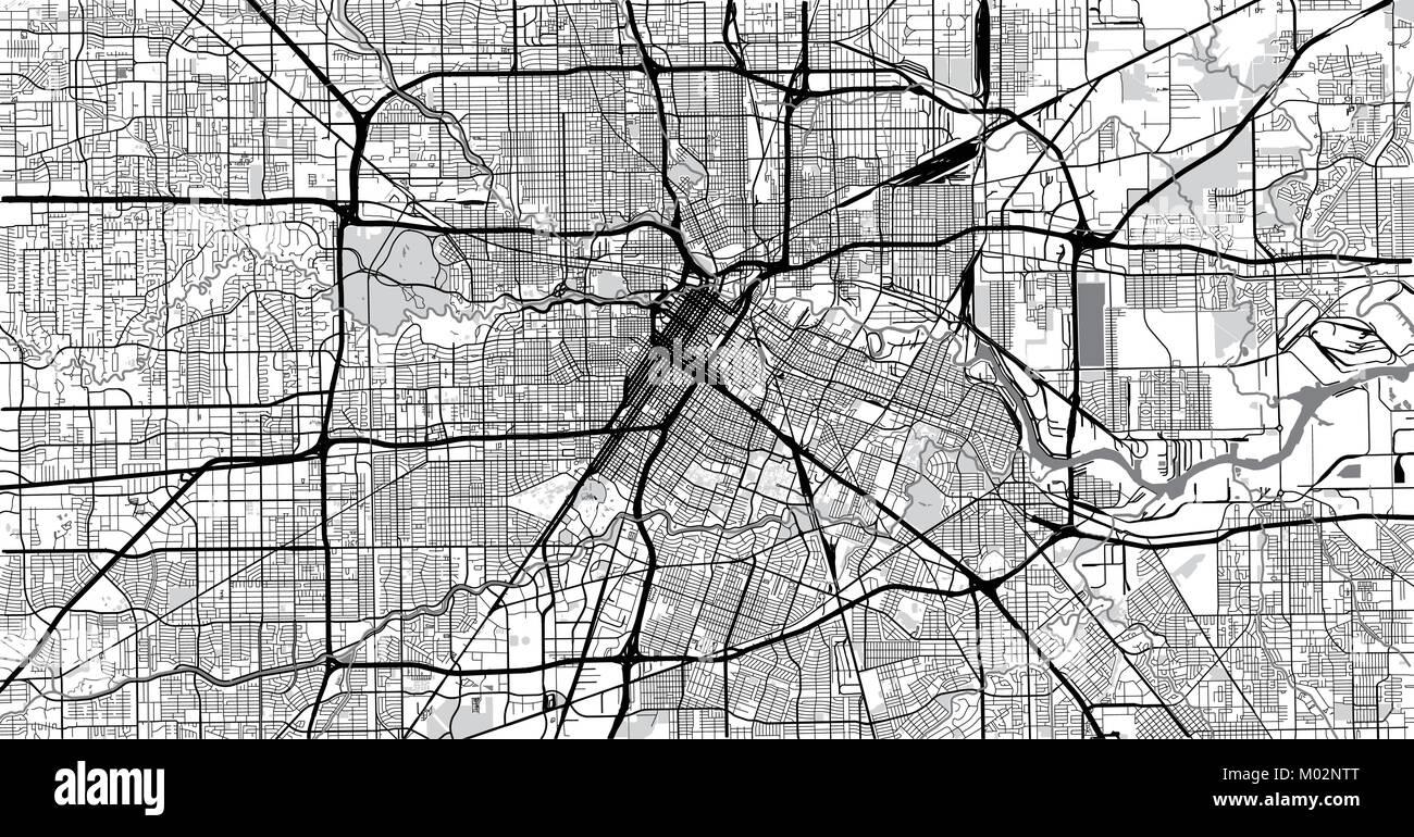 Urban vector city map of Houston, Texas, USA Stock Vector Art ... on